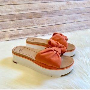 UGG Joan Platform Bow Suede Sandals -Vibrant Coral